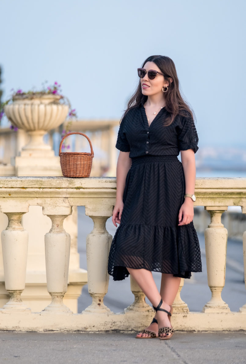 Le Fashionaire Wearing black on summer: why not? lady like zara black dress black leopard leather flat sandals miu miu pale pink sunglasses la petite sardine straw basket gold mango hoop earrings 4280 EN 805x1190
