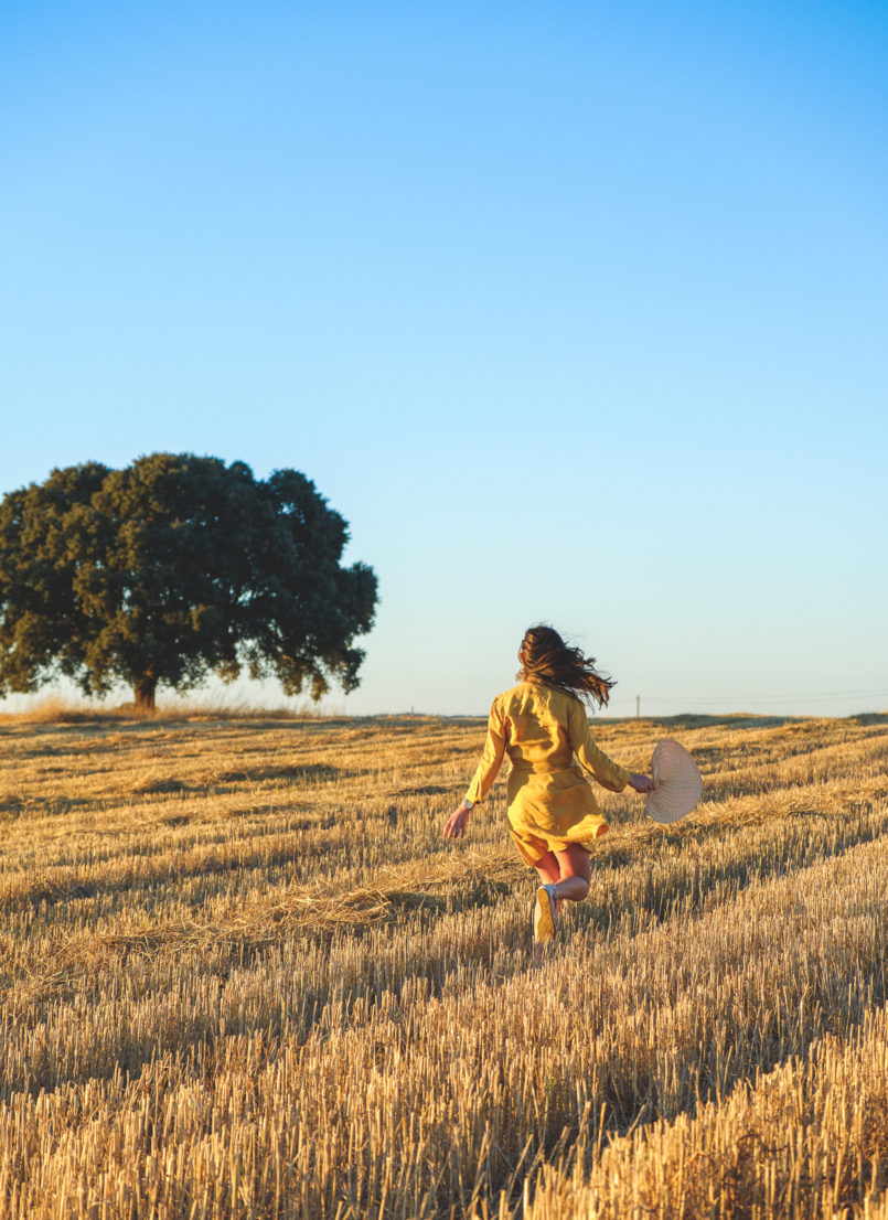 Le Fashionaire Alentejo makes me feel free linen yellow zara dress alentejo Cork oak beautiful field 3768 EN 805x1106