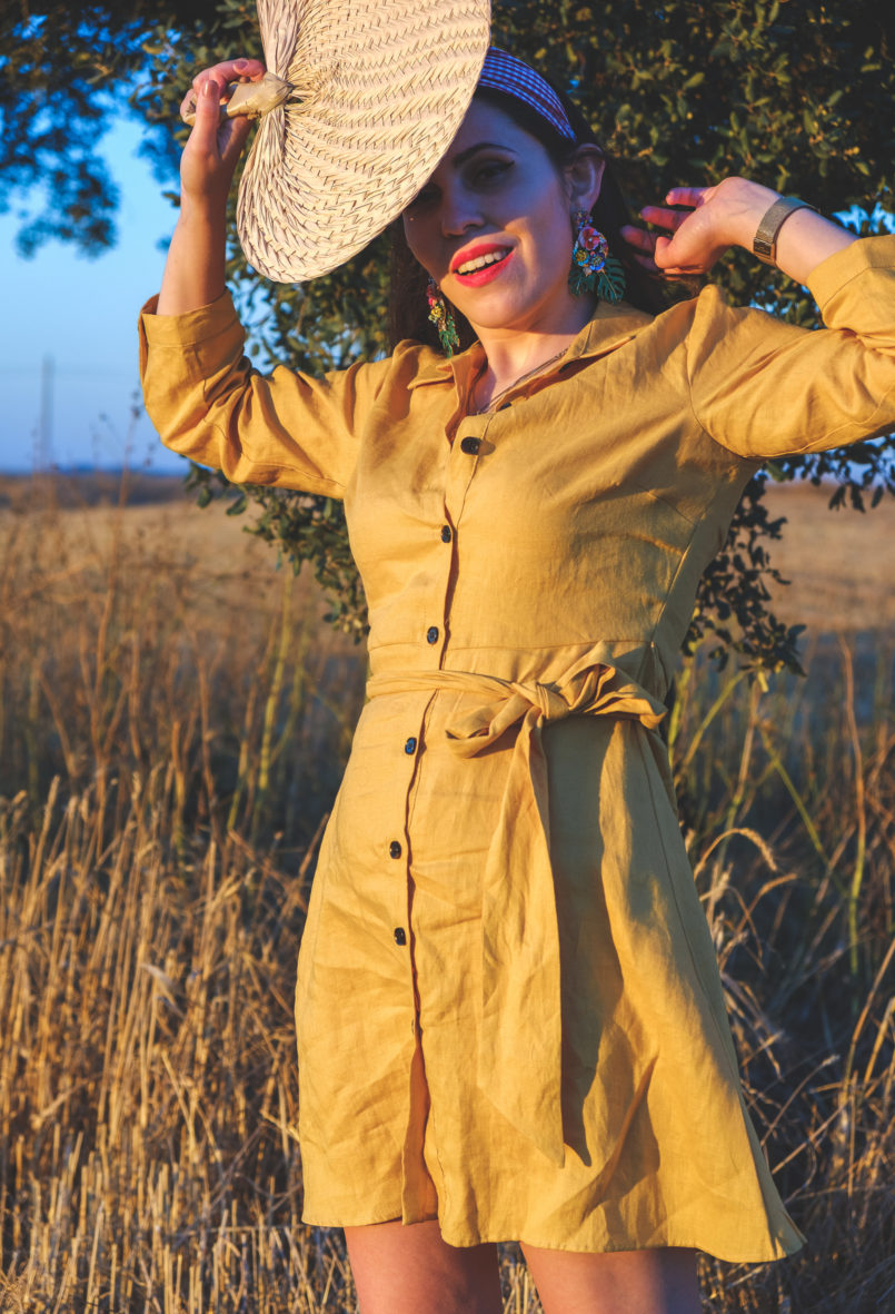Le Fashionaire Alentejo makes me feel free linen yellow zara dress alentejo Cork oak beautiful field 3806 EN 805x1181
