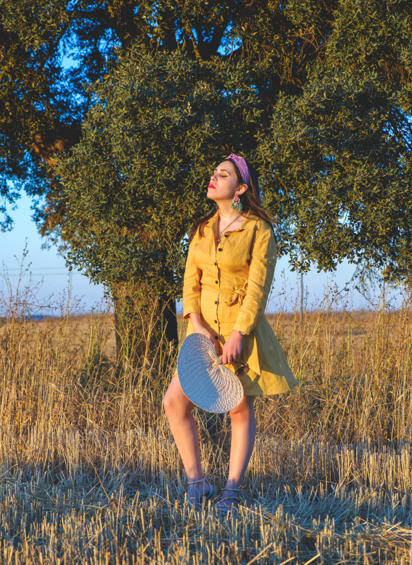 Le Fashionaire Alentejo makes me feel free linen yellow zara dress vichy red hair band bold earrings tropical leaf zara alentejo Cork oak beautiful field 3799 EN 805x1103