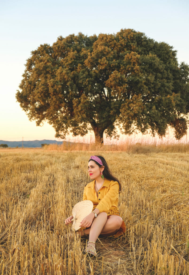 Le Fashionaire Alentejo makes me feel free nude santa lolla sandals vichy red hair band bold earrings tropical leaf zara alentejo Cork oak beautiful field 3855 EN 805x1171