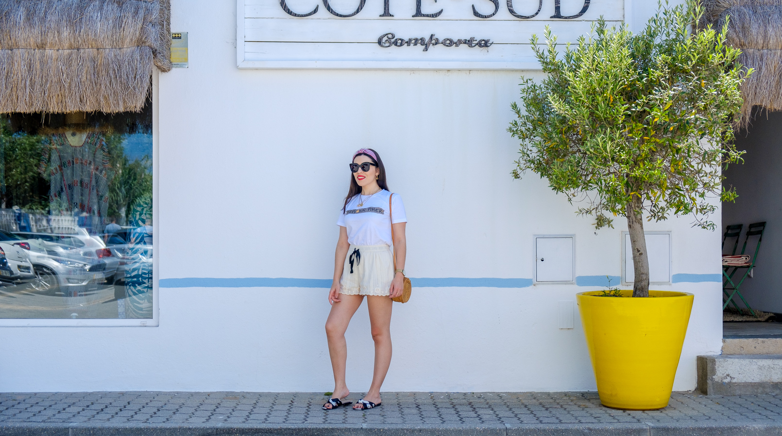 Le Fashionaire My first time at Comporta round straw bag white tee quote know your power stradivarius embroidered zara mini shorts white satin mango polka dots slides 3459F EN