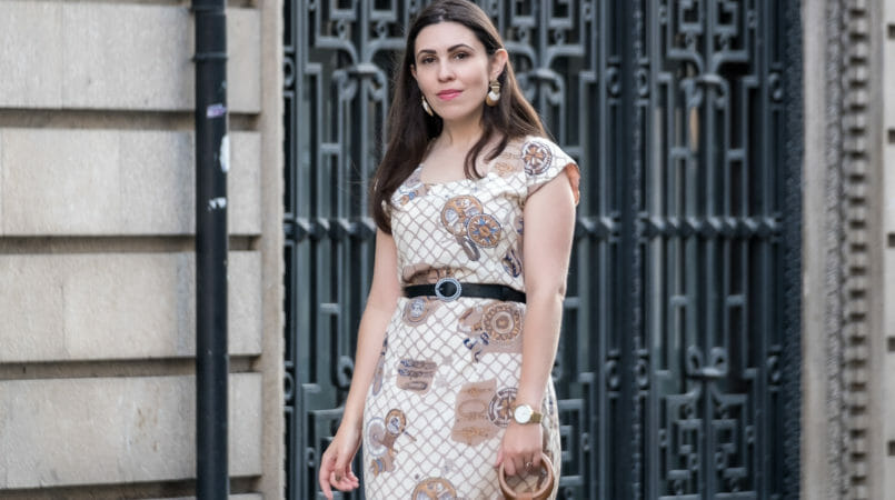 Le Fashionaire Why you shouldn't keep things just for special occasions vintage dress sailors compass beige print black white pearls zara belt rosefield gold watch 5598F EN 805x450