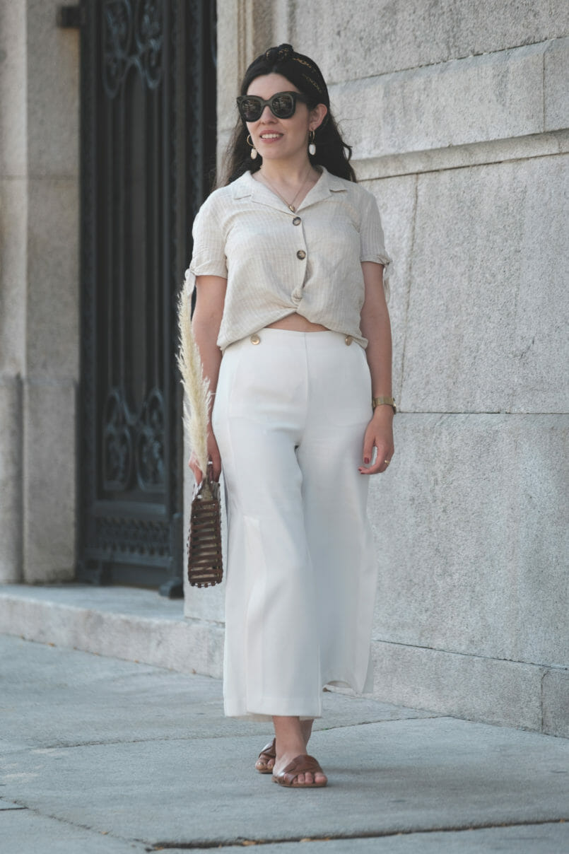 Le Fashionaire Forget the beauty standards: be yourself! white culottes zara brown leather zara slides shell mango earrings chain pattern hair scarf 5258 EN 805x1208