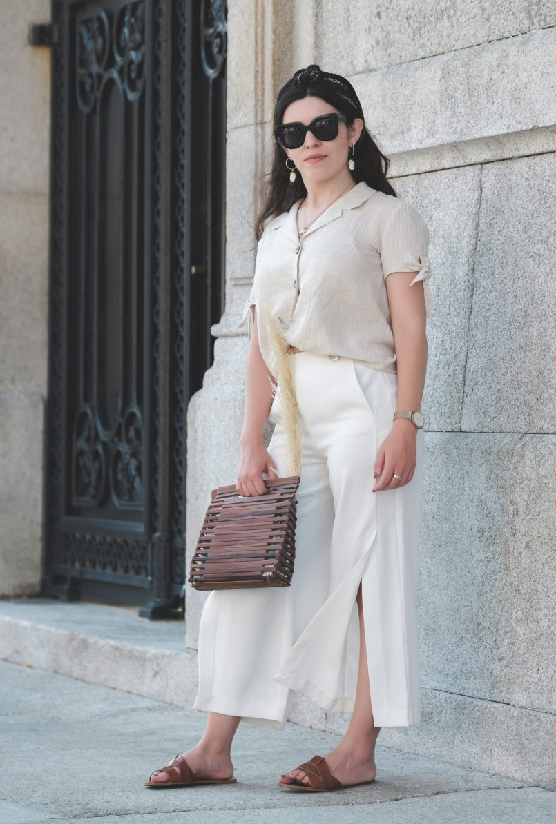 Le Fashionaire Forget the beauty standards: be yourself! white culottes zara brown leather zara slides shell mango earrings wood zara bag chain pattern hair scarf 5317 EN 805x1194