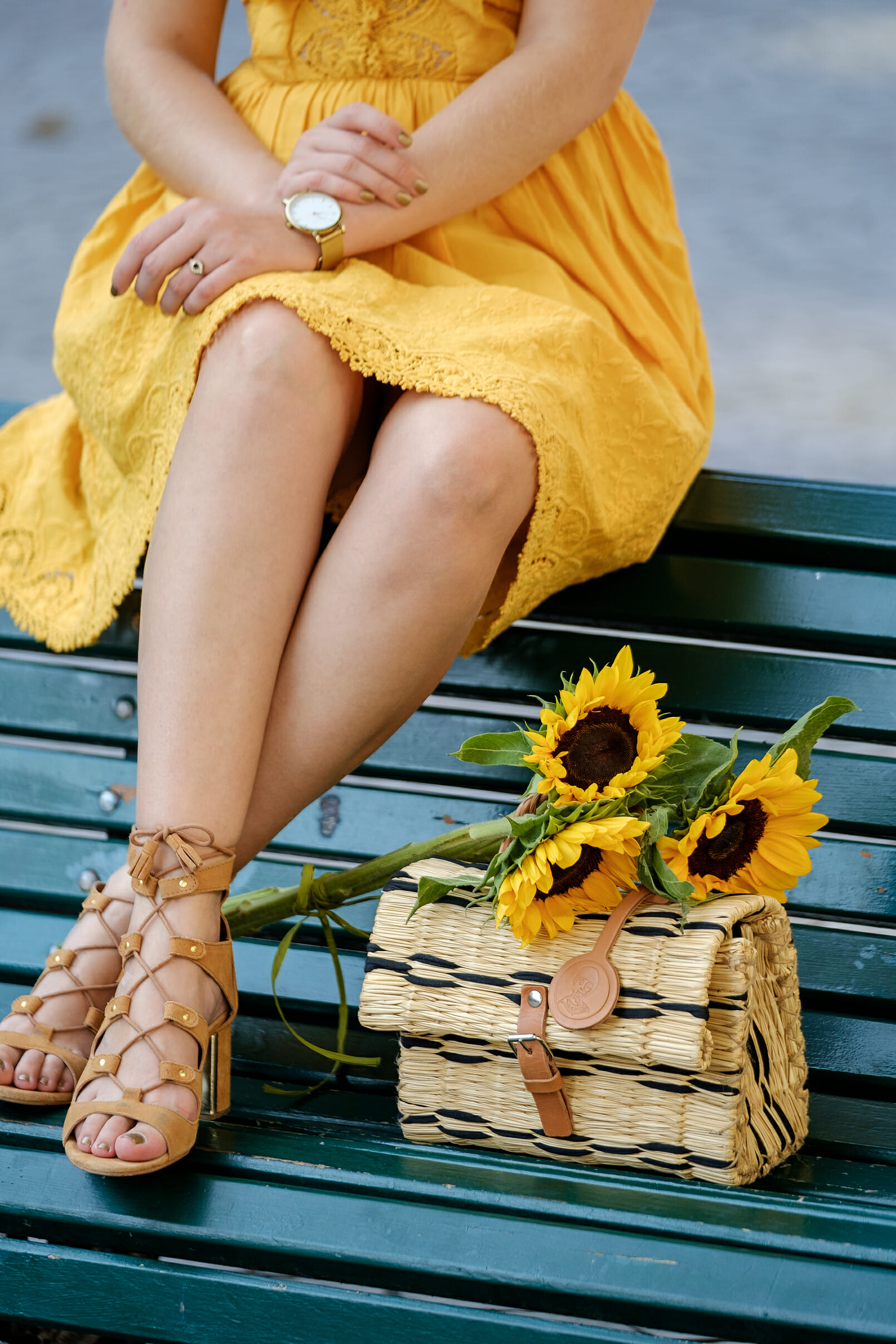 Le Fashionaire yellow embroidered dress suede light brown sandals straw rattan hand made portuguese brand toino abel yellow sunflowers 5356 EN yellow embroidered dress suede light brown sandals straw rattan hand made portuguese brand toino abel yellow sunflowers 5356 EN