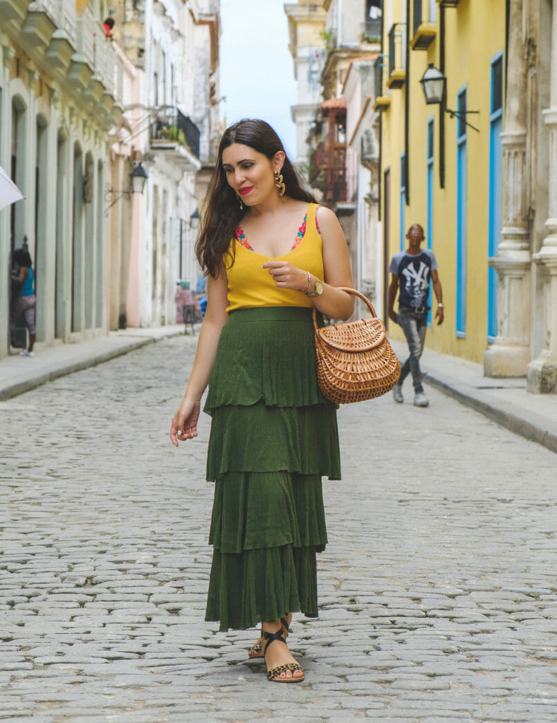 Le Fashionaire 3 things nobody tells you about Havana ruffles dark green maxi zara skirt hearts bold black earrings yellow mango top flowers embroidered intimissimi bralette leopard leather sandals 7484 EN 805x1045