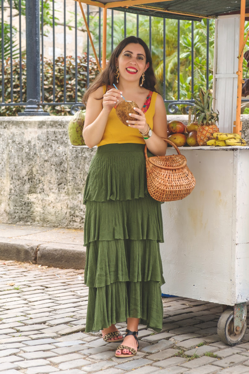 Le Fashionaire 3 things nobody tells you about Havana ruffles dark green maxi zara skirt hearts bold black earrings yellow mango top flowers embroidered intimissimi bralette leopard leather sandals 7730 EN 805x1209