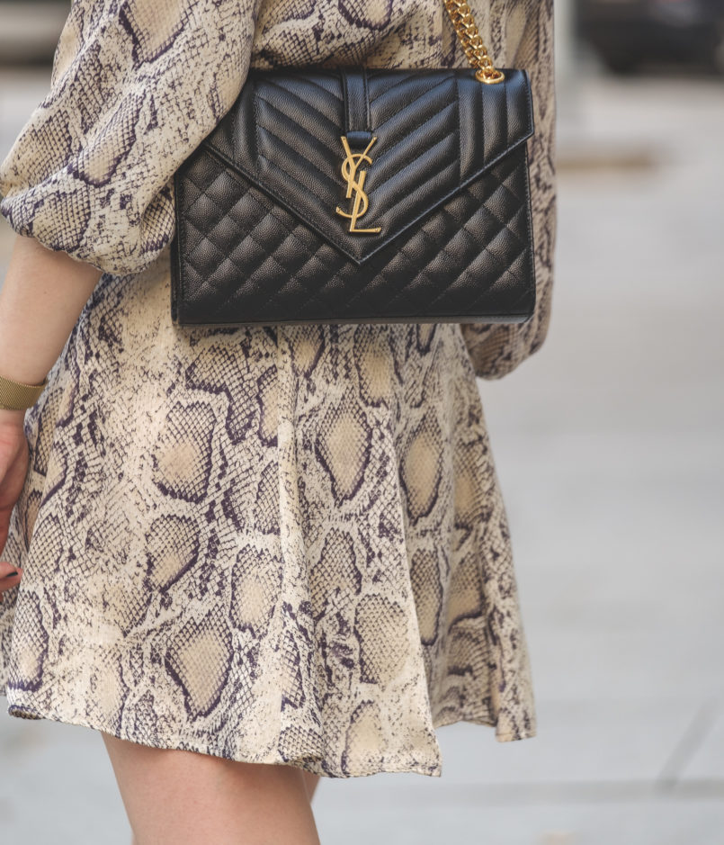 Le Fashionaire The coolest dress for this Fall is from Zara satin zara snake print dress envelope ysl bag black gold 6446 EN 805x939