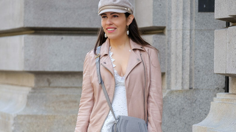 Le Fashionaire Cowboy boots for Fall: yay or nay? baker boy beige hm hat shell gold hoops mango chloe mini marcie grey bag pale pink leather motard mango jacket 9447F EN 805x450