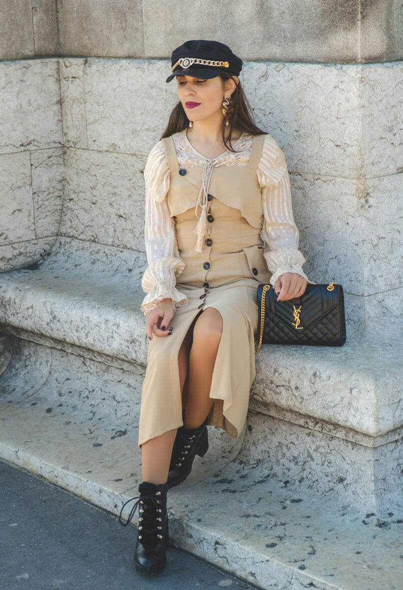 Le Fashionaire How to wear summer dresses on Fall beige uterque silk shirt bold zara black hearts earrings military black stradivarius boots saint laurent black envelope ysl bag paris 8946 EN 805x1177