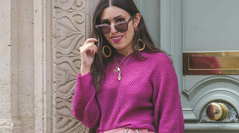 Le Fashionaire Why Pink October is so important purple mohair mango knit bold long zara bamboo pink earrings leopard leather sfera clutch gold swallow cinco store necklace 9086F EN 805x450