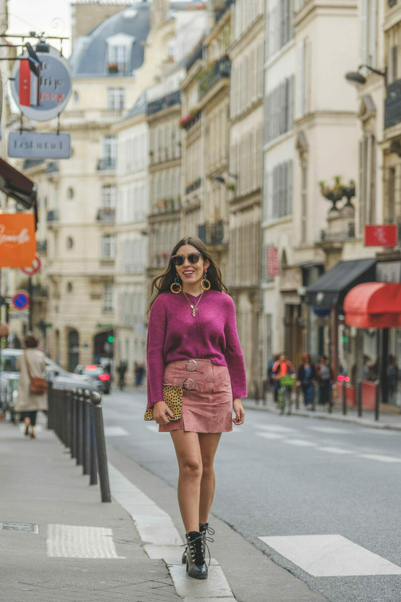 Le Fashionaire Why Pink October is so important purple mohair mango knit pale pink leather buckles skirt black military stradivarius leather boots miu miu grey pink sunglasses 9048 EN 805x1208