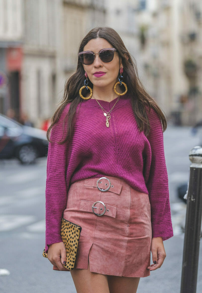Le Fashionaire Why Pink October is so important purple mohair mango knit pale pink leather buckles skirt bold long zara bamboo pink earrings leopard leather sfera clutch miu miu grey pink sunglasses 9058 EN 805x1164