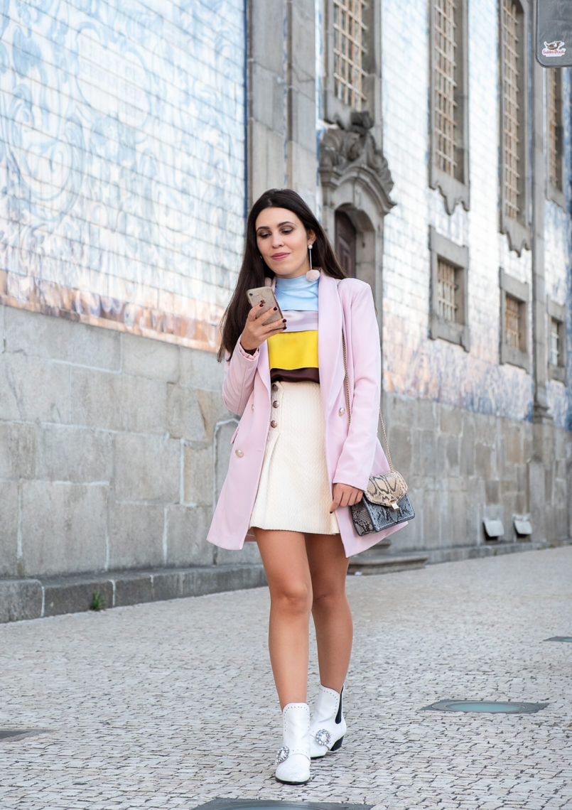 Le Fashionaire Why is silk so expensive? silk ruffles pale pink blue brown yellow massimo dutti blouse gold front buttons beige mango skirt oversized boohoo pink blazer 9919 EN 805x1140