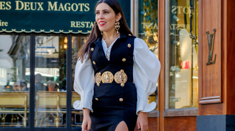 Le Fashionaire PFW Valentin Yudashkin SS19: my look and everything about the show white bold shaken sleeve oh hey girl black dress military golden buttons boohoo bold hearts black earrings zara gold coins bold boohoo belt 9268F EN 805x450