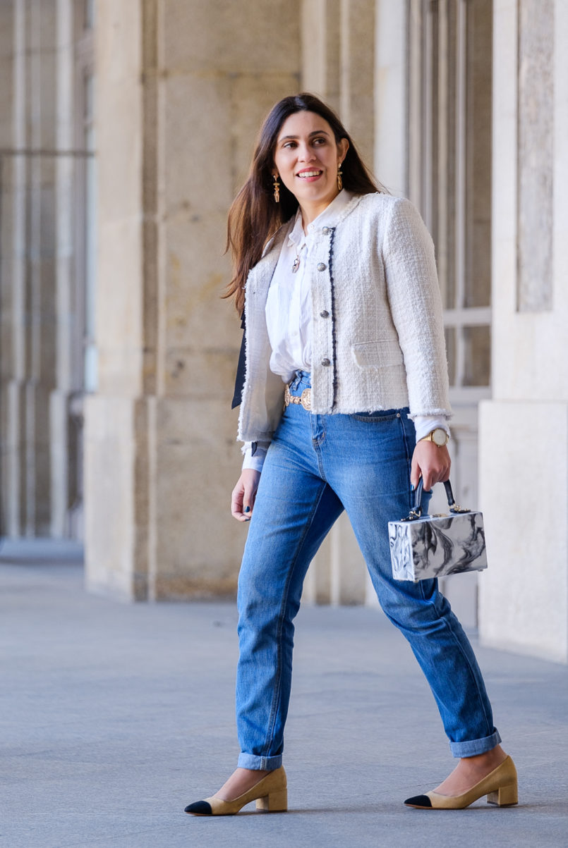 Le Fashionaire My first mom jeans have a Mickey on the back pocket white tweed black ribbon zara tweed jacket marble box bag uterque mom jeans mickey boohoo two colors beige chanel style zara shoes 0861 EN 805x1203
