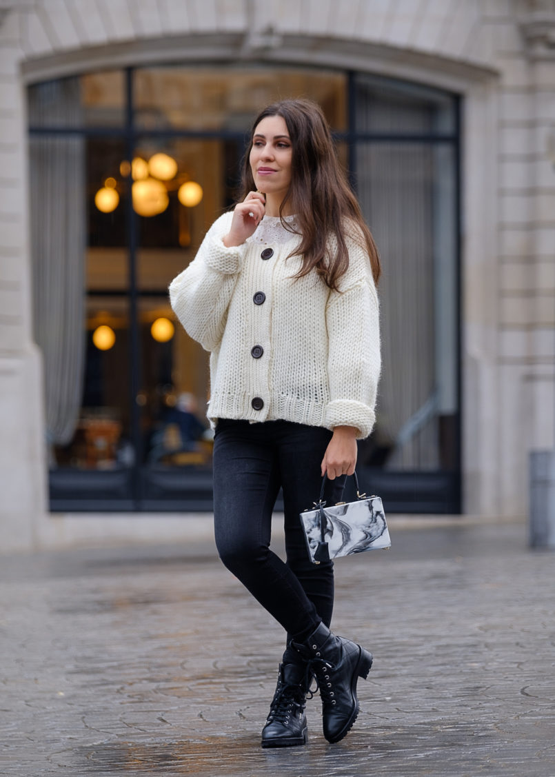 Le Fashionaire Cardigans for winter: yay or nay? white zara wool black front buttons zara stradivarius black jeans military massimo dutti boots marble uterque box bag 1727 EN 805x1127