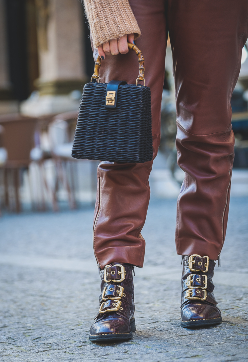 Le Fashionaire Is it worth it investing in leather trousers? high waist leather brown mango trousers leather croco dark brown gold buckles topshop boots black rattan bag bamboo zara 3602 EN 805x1173