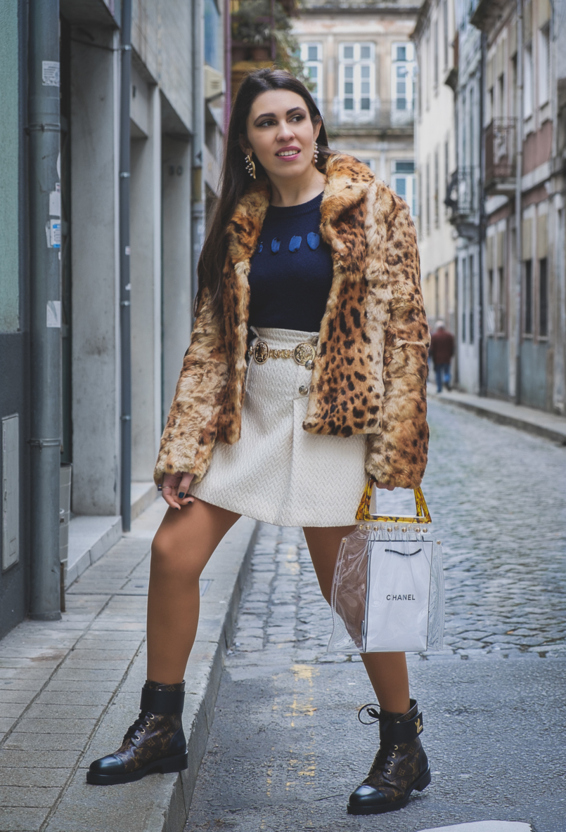 Le Fashionaire Belts: the accessory you need now! leopard faux fur mango jacket dark blue satin ribbons massimo dutti knit white gold buttons mango skirt ranger plat louis vuitton boots 5884 EN 805x1184