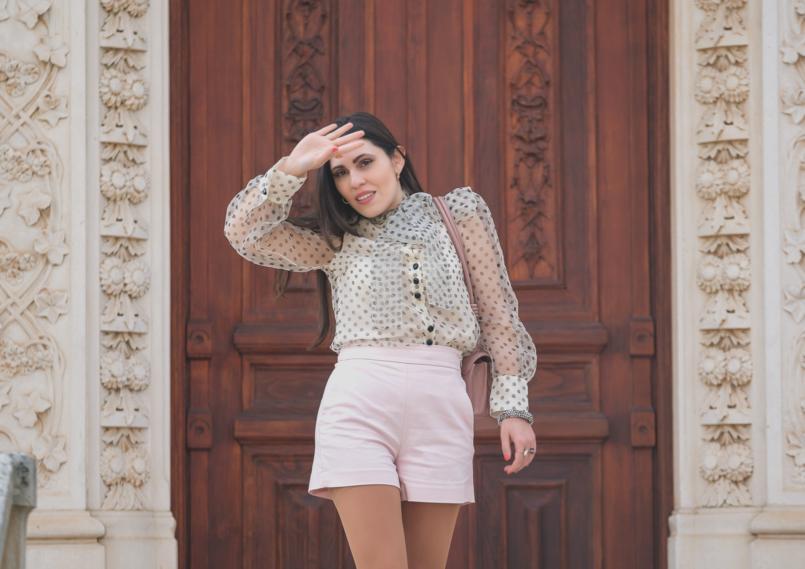 Le Fashionaire Are Soleah bags worth it? organza polka dots zara shirt pale pink high waist shorts zara 6561 EN 805x569