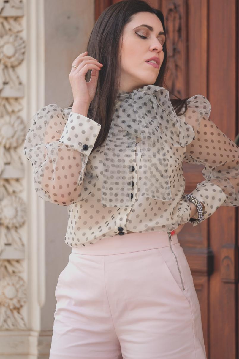 Le Fashionaire Are Soleah bags worth it? organza polka dots zara shirt pale pink high waist shorts zara 6615 EN 805x1208