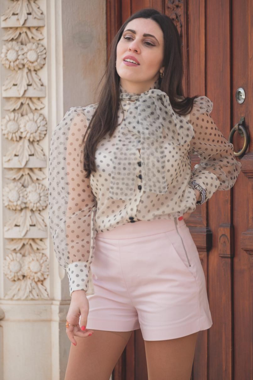 Le Fashionaire Are Soleah bags worth it? organza polka dots zara shirt pale pink high waist shorts zara 6622 EN 805x1208