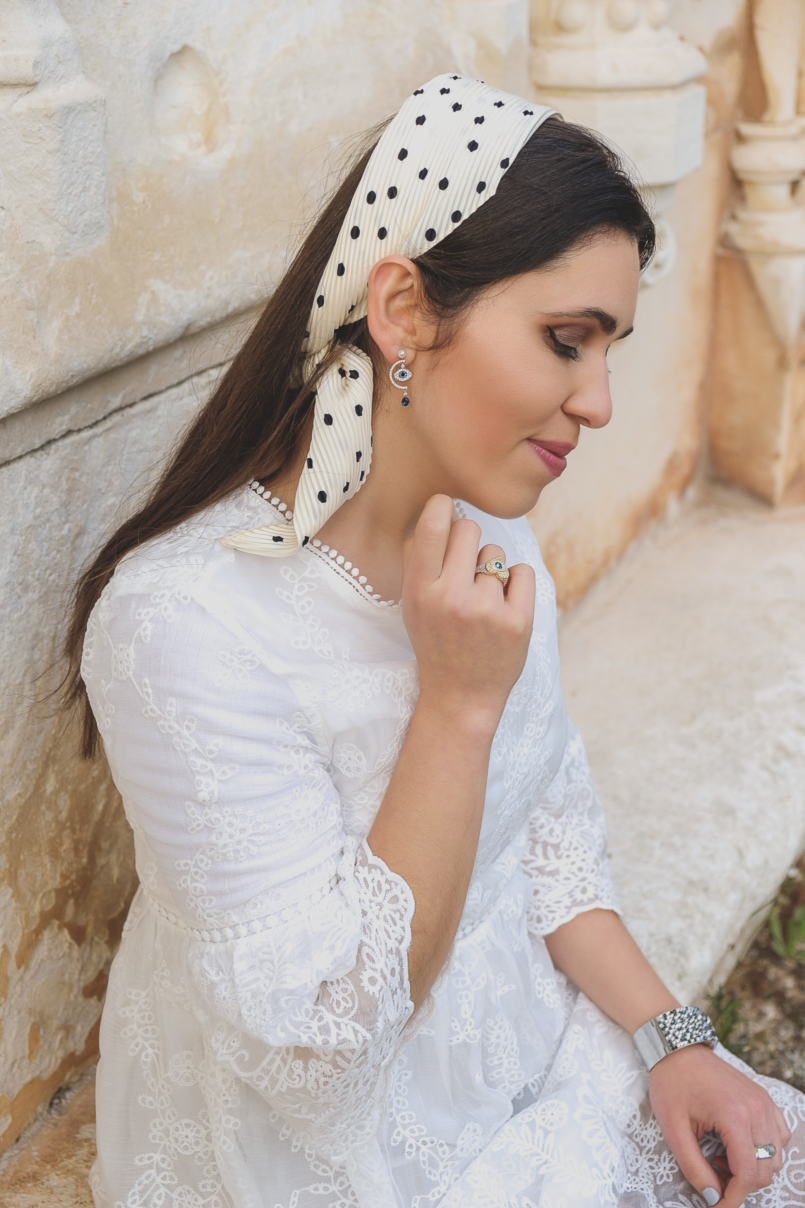 Le Fashionaire Are things just things? white lace embroidered shein skater dress evil eye crystal swarovski earrings polka dots scarf zara 7137 EN 805x1208