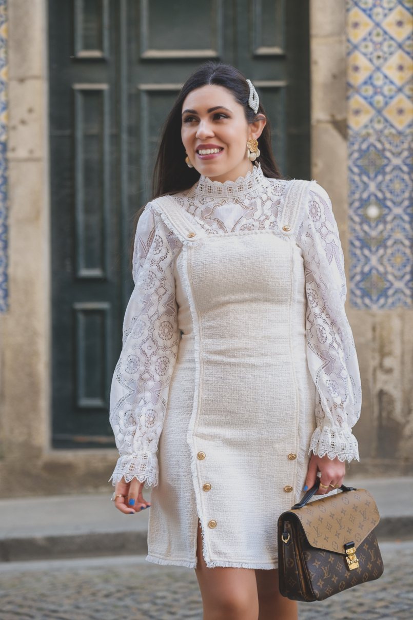 Le Fashionaire The Zara lace top everybody wants this spring white tweed gold buttons shein dress white lace zara top louis vuitton pochette metis reverse 6424 EN 805x1208