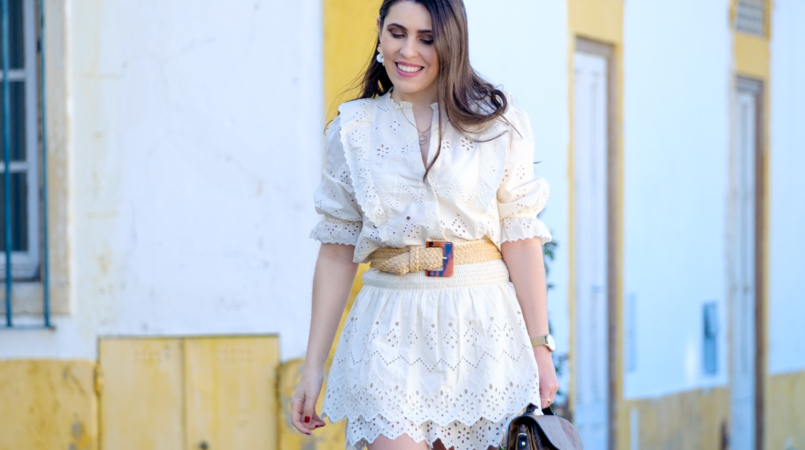 Le Fashionaire Zara New Collection: I love these staples for spring english embroidered zara shirt english embroidered zara skirt rattan zara belt raffia handmade zara greek sandals obidos village 8236F EN 805x450