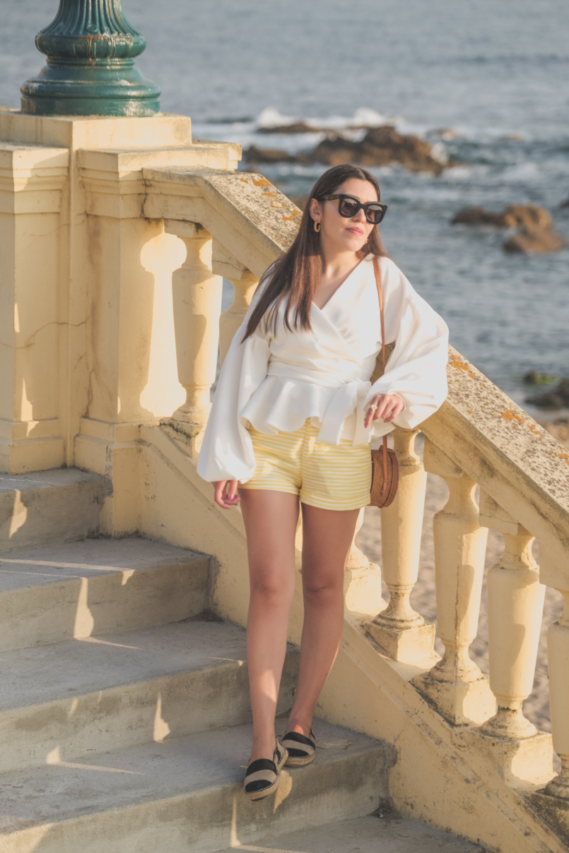 Le Fashionaire The perfect shirt to wear until Fall white shein shirt white yellow stripes zara shorts celine sunglasses black leather stripes zara espadrilles rattan round bag 1666 EN 805x1208