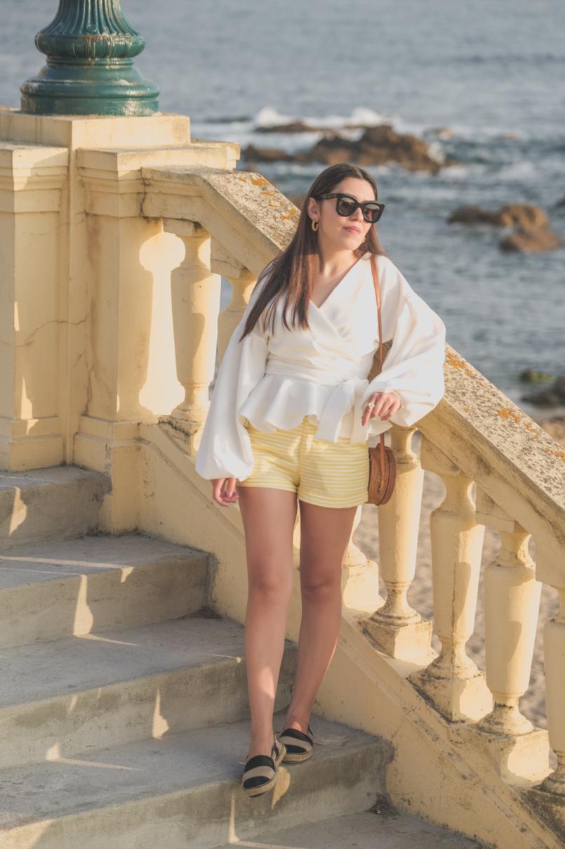 Le Fashionaire The perfect shirt to wear until Fall white shein shirt white yellow stripes zara shorts celine sunglasses black leather stripes zara espadrilles rattan round bag 1666 EN 805x1208