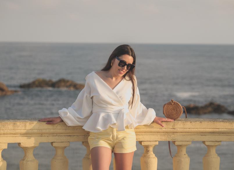 Le Fashionaire The perfect shirt to wear until Fall white shein shirt white yellow stripes zara shorts celine sunglasses black rattan round bag 1693 EN 805x584